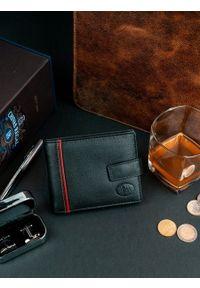 PIERRE ANDREUS - Skórzany czarny portfel męski RFID Pierre Andreus N30257. Kolor: czarny. Materiał: skóra