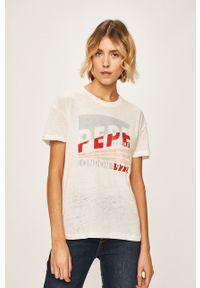Biała bluzka Pepe Jeans casualowa, z nadrukiem