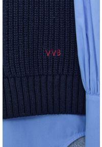 Victoria Victoria Beckham - Sweter. Okazja: na co dzień. Typ kołnierza: golf. Kolor: niebieski. Materiał: dzianina. Wzór: ze splotem. Styl: casual