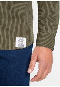 Zielona koszula bonprix długa, w paski