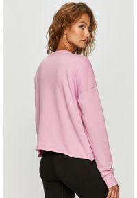 Fioletowa bluza DKNY z nadrukiem, z długim rękawem, z okrągłym kołnierzem, casualowa