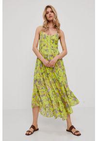TwinSet - Twinset - Sukienka. Materiał: tkanina. Długość rękawa: na ramiączkach. Typ sukienki: rozkloszowane