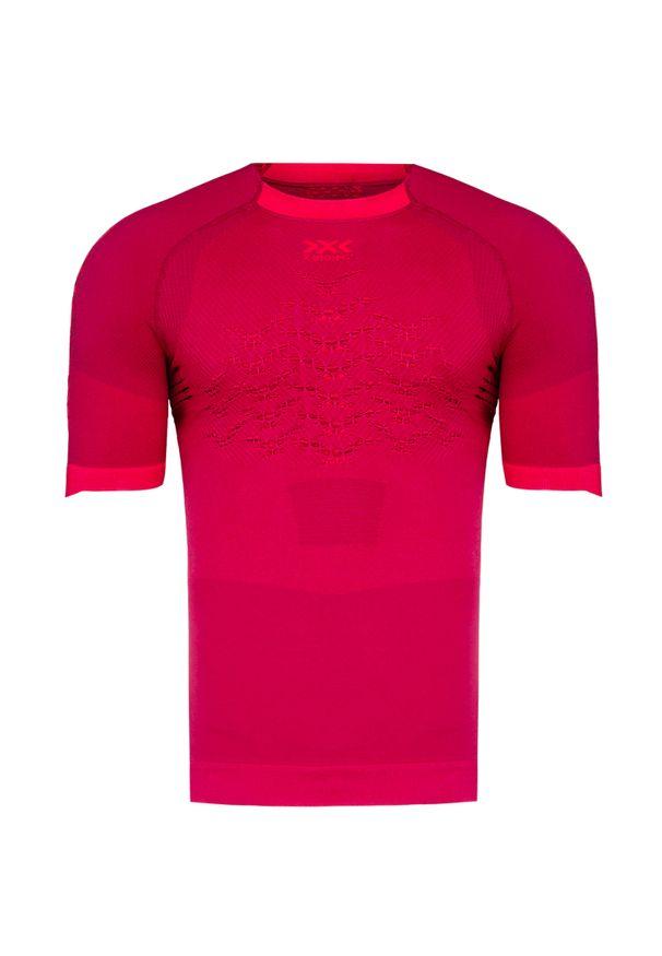 Czerwona koszulka termoaktywna X-Bionic z krótkim rękawem, z asymetrycznym kołnierzem