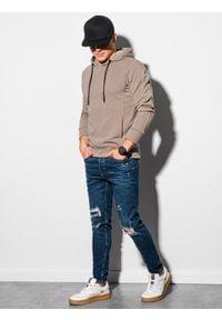 Ombre Clothing - Bluza męska z kapturem B1155 - beżowa - XXL. Typ kołnierza: kaptur. Kolor: beżowy. Materiał: dresówka, bawełna, jeans, dzianina, poliester