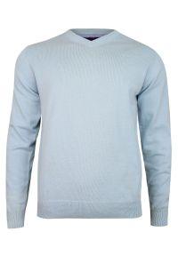 Niebieski sweter Adriano Guinari z klasycznym kołnierzykiem, klasyczny, na spotkanie biznesowe