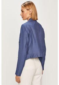 Niebieska kurtka DKNY na co dzień, bez kaptura, gładkie, casualowa