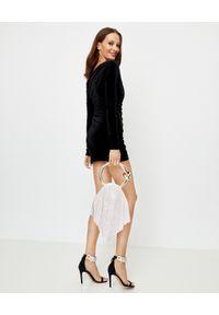 ALEXANDRE VAUTHIER - Aksamitna sukienka mini. Okazja: na imprezę. Kolor: czarny. Materiał: materiał. Długość rękawa: długi rękaw. Typ sukienki: asymetryczne. Styl: elegancki. Długość: mini