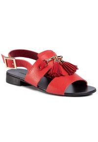 Czerwone sandały Maccioni na co dzień, z aplikacjami