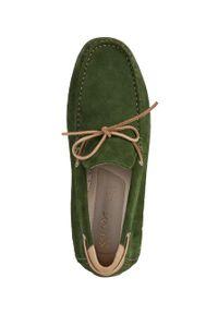 Geox - Mokasyny skórzane. Nosek buta: okrągły. Kolor: zielony. Materiał: skóra #5