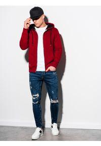 Ombre Clothing - Bluza męska rozpinana z kapturem B1223 - bordowa - XXL. Typ kołnierza: kaptur. Kolor: czerwony. Materiał: bawełna, poliester
