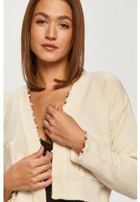 Kremowy sweter rozpinany Pinko klasyczny, długi