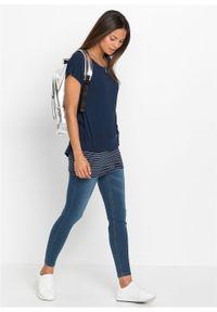 Niebieska bluzka bonprix długa, z krótkim rękawem