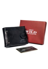 ALWAYS WILD - Portfel, etui na karty czarne Always Wild N015L-VTK-N-4749 BLA. Kolor: czarny. Materiał: skóra. Wzór: aplikacja