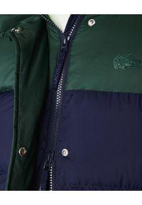 Zielony płaszcz Lacoste z nadrukiem, z kapturem, na zimę