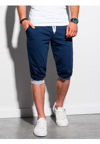 Ombre Clothing - Krótkie spodenki męskie dresowe P29 - granatowe/szare - XXL. Okazja: na co dzień. Kolor: szary. Materiał: dresówka. Długość: krótkie. Styl: casual