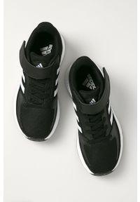 Czarne buty sportowe Adidas z cholewką, z okrągłym noskiem, na rzepy