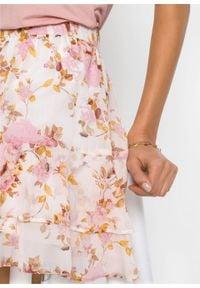 Spódnica mini z poliestru z recyklingu bonprix biel wełny w kwiaty. Kolor: biały. Materiał: poliester, wełna. Wzór: kwiaty