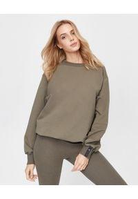 ICON - Bawełniana bluza khaki z logo. Kolor: zielony. Materiał: bawełna. Wzór: aplikacja. Styl: klasyczny