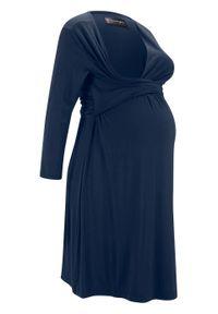 Niebieska sukienka bonprix moda ciążowa