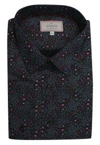 Czarna elegancka koszula Victorio długa, z długim rękawem, w kwiaty, na co dzień