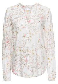 Biała bluzka bonprix z dekoltem w serek, elegancka, w kwiaty