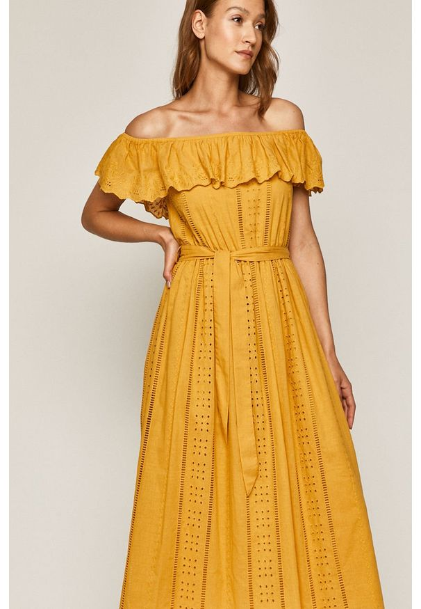 Żółta sukienka medicine na co dzień, casualowa