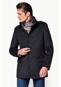 Szara kurtka Lancerto ze stójką, klasyczna, w kolorowe wzory, na jesień