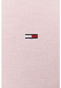 Różowa koszula Tommy Jeans button down, casualowa, długa