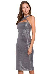 Sukienka na imprezę midi, asymetryczna