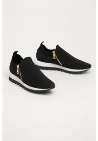 Czarne buty sportowe DKNY na średnim obcasie, z okrągłym noskiem, na obcasie, z cholewką #4