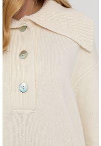 Samsoe & Samsoe - Samsoe Samsoe - Sweter. Kolor: beżowy. Długość rękawa: długi rękaw. Długość: długie