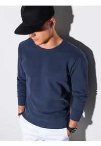Ombre Clothing - Bluza męska bez kaptura bawełniana B1146 - granatowa - XXL. Typ kołnierza: bez kaptura. Kolor: niebieski. Materiał: bawełna. Styl: klasyczny, elegancki