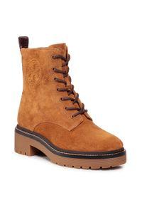Brązowe buty trekkingowe Tory Burch z cholewką