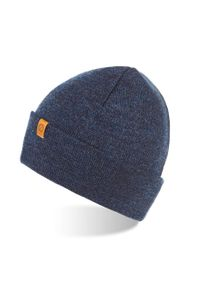 BRODRENE - Czapka męska zimowa Brodrene CZ6 granatowa. Kolor: niebieski. Materiał: materiał. Wzór: aplikacja. Sezon: zima. Styl: sportowy, elegancki