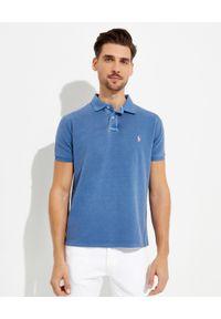 Ralph Lauren - RALPH LAUREN - Niebieska koszulka polo Custom Slim Fit Mesh. Typ kołnierza: polo. Kolor: niebieski. Materiał: mesh. Wzór: haft