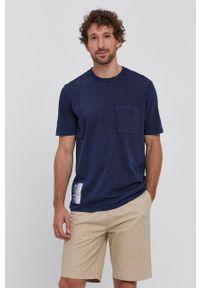 Hugo - T-shirt. Okazja: na co dzień. Kolor: niebieski. Materiał: włókno, materiał, bawełna. Styl: casual