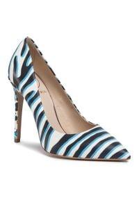 Baldowski - Szpilki BALDOWSKI - D03102-E160-004 Zebra Azul/Panterka Azul. Kolor: biały. Materiał: skóra. Wzór: motyw zwierzęcy. Obcas: na szpilce. Styl: elegancki. Wysokość obcasa: wysoki