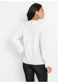 Bluzka szyfonowa z koronką bonprix biały. Kolor: biały. Materiał: koronka, szyfon. Wzór: koronka. Styl: elegancki