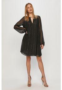 Trussardi Jeans - Sukienka. Kolor: czarny. Materiał: tkanina. Wzór: gładki. Typ sukienki: rozkloszowane