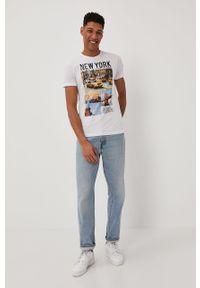 Biały t-shirt Brave Soul z nadrukiem, casualowy