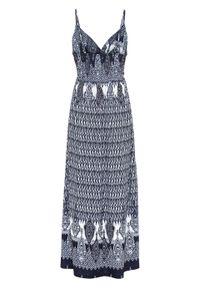 Długa sukienka na cienkich ramiączkach bonprix niebiesko-biały wzorzysty. Kolor: niebieski. Długość rękawa: na ramiączkach. Sezon: lato. Długość: maxi