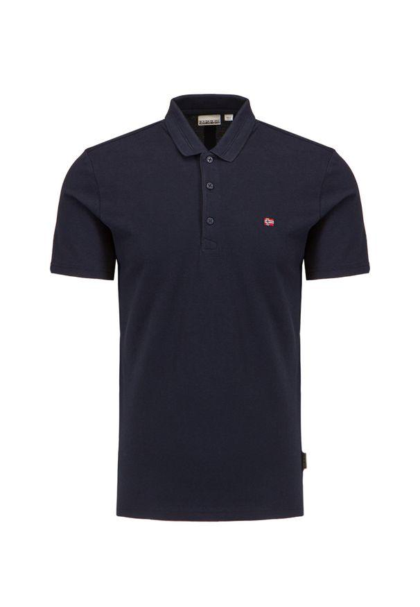 Napapijri - Koszulka polo NAPAPIJRI EALIS. Typ kołnierza: polo. Materiał: tkanina. Wzór: ze splotem