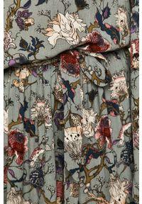 Turkusowa sukienka medicine rozkloszowana, w kwiaty, na co dzień