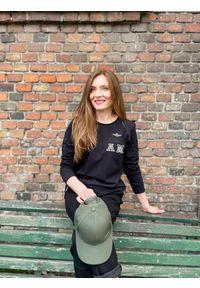 Bawełniana czarna bluza Aeronautica Militare. Kolor: czarny. Materiał: bawełna. Wzór: aplikacja
