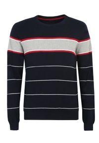 Niebieski sweter TOP SECRET na zimę, z klasycznym kołnierzykiem