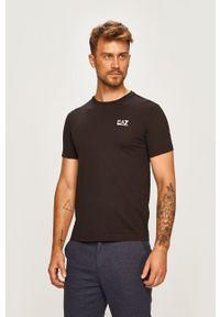 Czarny t-shirt EA7 Emporio Armani na co dzień, casualowy, z okrągłym kołnierzem