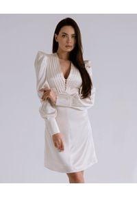 DOLLINA - Mini sukienka z bufiastymi rękawami Corrida. Kolor: biały. Materiał: wiskoza. Długość: mini