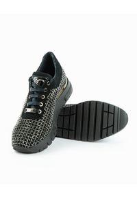 Casadei - CASADEI - Skórzane sneakersy z metaliczna aplikacją. Zapięcie: sznurówki. Kolor: czarny. Materiał: skóra. Szerokość cholewki: normalna. Wzór: aplikacja