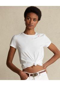 Ralph Lauren - RALPH LAUREN - Biały t-shirt Peace Love. Typ kołnierza: polo. Kolor: biały. Materiał: bawełna. Wzór: kolorowy, napisy