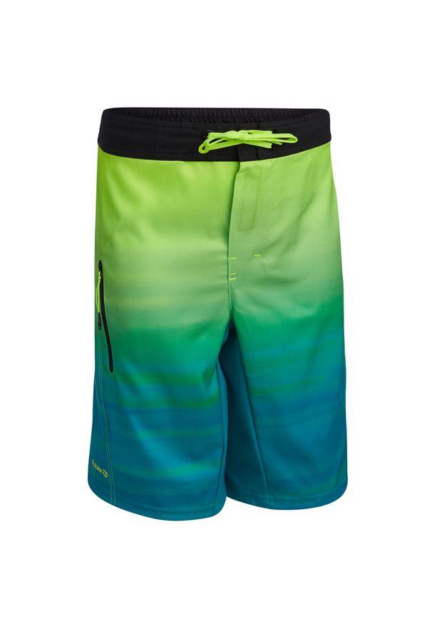 OLAIAN - Spodenki Surfing Bs 500L Offshore Dla Dzieci. Kolor: zielony. Materiał: materiał, poliester. Długość: długie